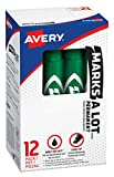 Avery Marks-A-Lot Permanent Markers, Regular Desk-Style Size, Chisel Tip, 12 Green Markers (07885)