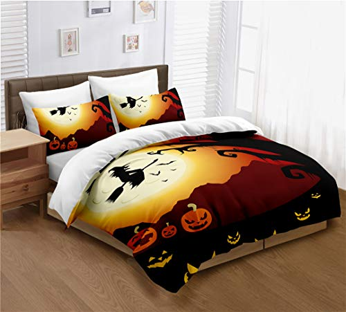 (Halloween Full Size Duvet Cover Set, Funny Cartoon Design with Pumpkin Witch, Decorative 3 Piece Bedding Set with 2 Pillow Cases, Kids Bedding Halloween Decor Multicolor )