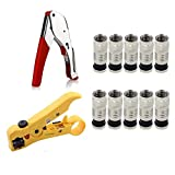 Coax Cable Crimper Kit Coaxial Compression Tool RG6 Fitting Wire Stripper with Gaobige 10 PCS F Compression connectors - Yellow + Black