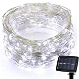 YRD TECH 6.5ft 20Led Solar Powered Waterproof String Lights Copper Wire Outdoor Fairy Light Christmas Garden Home Holiday Decoration (White)