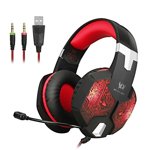 Jeecoo JC-G1000 Stereo Over-ear Gaming Headset with 7 Colors Breathing LED Light and Microphone - Red
