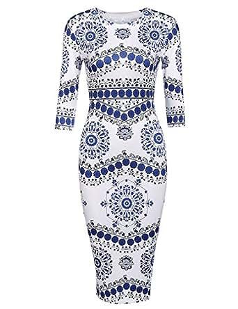 Locryz Womens Porcelain Print Pencil Dress (S, Blue)