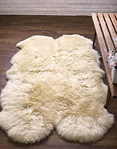 Quad Pelt Australian Genuine Sheepskin Rug Ivory White 4x6 ft | Real Sheep Fur Artistic Embellishment TM