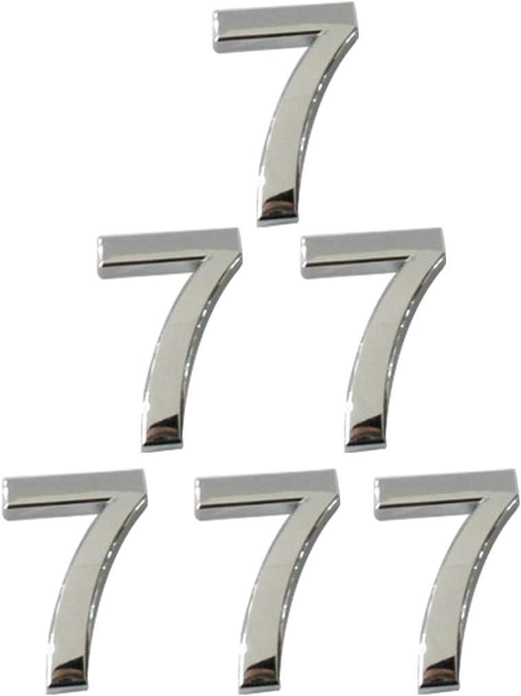 Luwu-Store Chrome Plated House Door Car Address Number Digits Numeral Plate Plaque Sticker Number 0