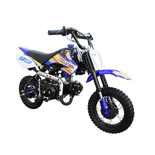 Pit Bike - Coolster Kids Mini Dirt Bike 70cc Youth Gas Pit Bike Semi-Automatic 4-Speed CRF50 Style (Blue)
