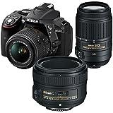 Nikon D5300 DSLR Camera + Nikon AF-P DX 18-55mm f/3.5-5.6G VR + Nikon AF-S DX 55-300mm f/4.5-5.6G ED VR + Nikon AF-S 50mm f/1.8G
