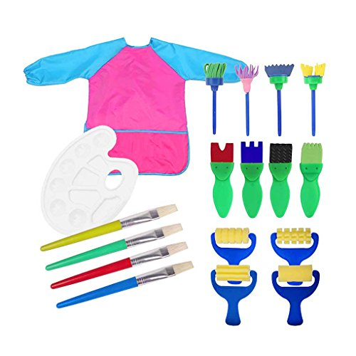18pcs Toddlers Early Learning Painting Tools - Art Smock Apron with Palette,Sponge Paint Brushes,Roller Brayers,EVA Flower Brushes,Bristle Hair Brushes for Art Craft DIY Supplies,Birthday/Xmas Gifts by BXT