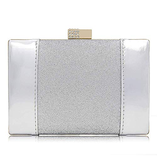 Bag Crystal Clutches Patent PU Evening Clutch Superw Leather Flash Glitter Purses Women Rhinestone Super Silver Bags axfvIvqR