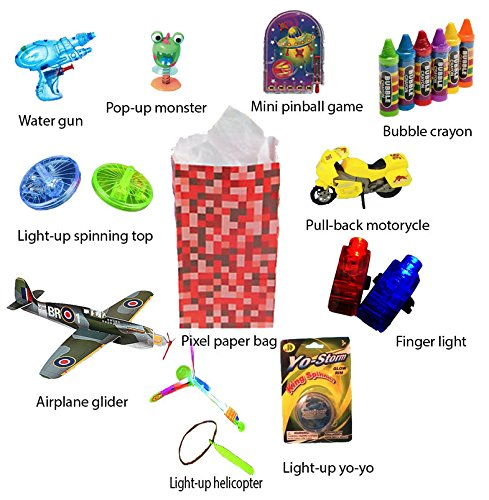 Boys Bronze Goodybag (15 pack) Unique Light-Up Toys and Party Favors for Kids Birthday Parties.Airplane glider, Light-up spin top, Light-up helicopter, Light-up yo-yo, and much more.