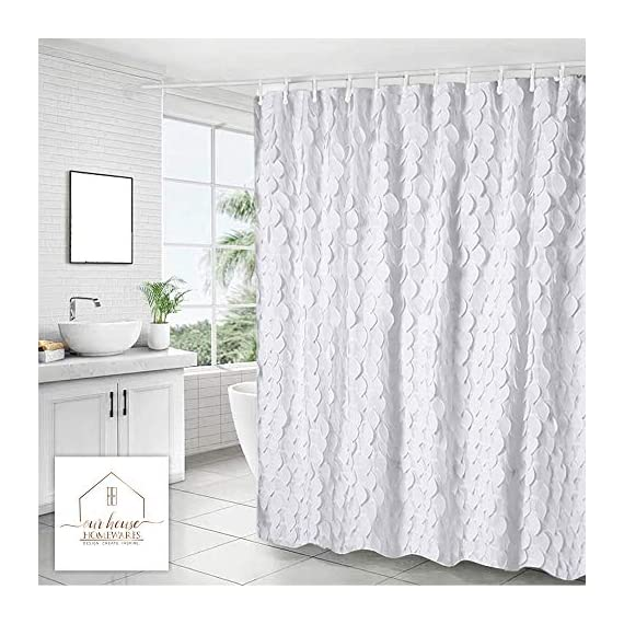 White Shower Curtain & Liner with 12 Shower Curtain Hooks. 72 x 72 Inch Eco Friendly 100% Polyester Fabric Farmhouse Shower Curtain Bathroom Set. Farmhouse Bathroom Décor by OHH! - 🚿 STYLISH: Elegant ruffle design that will suit any style; farmhouse, rustic, chic, modern or coastal. 🚿 ALL IN ONE SET: 1 x white shower curtain, 1 x white shower curtain liner and 12 x shower curtain rings. Don't waste time shopping around for individual items. 🚿 ECO FRIENDLY: Both liner and curtains are made from 100% polyester waterproof fabric meaning no vinyl smell. - shower-curtains, bathroom-linens, bathroom - 51H%2BkyjXuwL. SS570  -