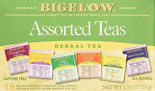 - Bigelow Assorted Herbal Teas, 18 Count, Pomegranate Pizzazz, Mint Medley, I Love Lemon, Cozy Chamomile, Orange & Spice and Sweet Dreams
