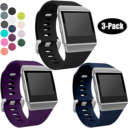 Wepro Bands Compatible with Fitbit Ionic SmartWatch, Watch Replacement Sport Strap for Women Men Kids, Large, Black, Navy Blue, Plum