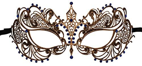(Luxury Mask Women's Laser Cut Metal Venetian Pretty Masquerade Mask Vintage)