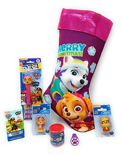 Candy Filled Dispensers (PAW PATROL Christmas Stocking Purple with Purple Shinny Top Filled with Skye PEZ Dispenser and Candy, Figurines and More Includes Six Stocking Stuffers)