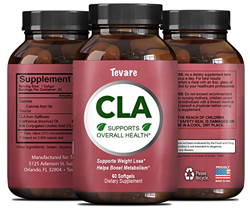 Pure CLA Supplement for Weight Loss and Fat Burn - Extra Strength Conjugated Linoleic Acid to Boost Metabolism and Build Muscle - Natural Diet Pills for Men & Women 60 CLA Softgel Capsules by Tevare