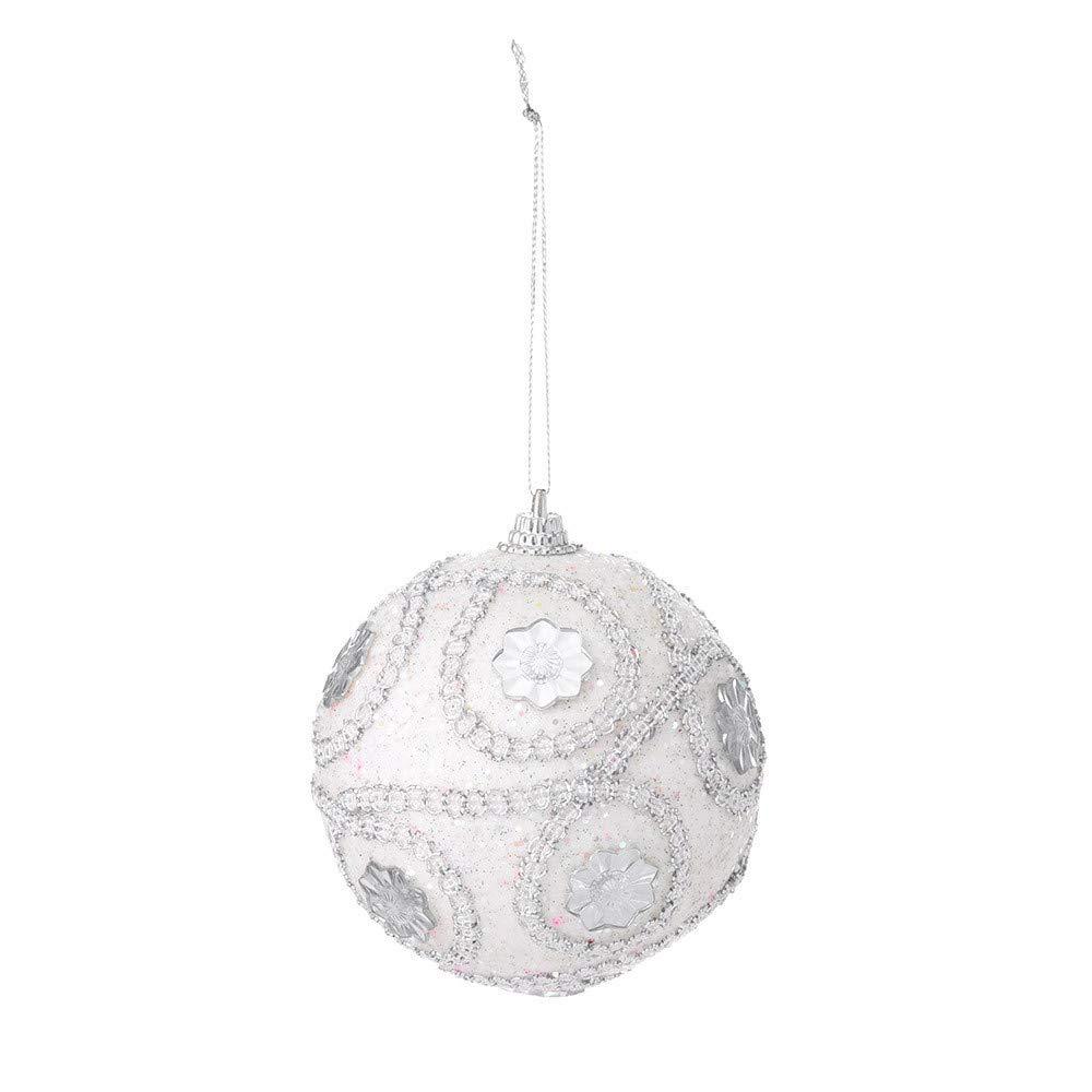 Yezijin Chirstmas Ball, Christmas Rhinestone Glitter Baubles Balls Xmas Tree Ornament Decoration 8CM (White)