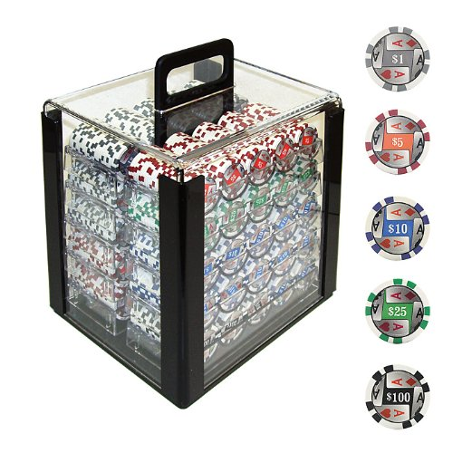 Trademark 1000 4 Aces with Denominations Poker Chips In Acrylic Carrier, Clear by Trademark Global