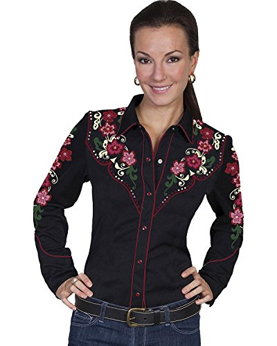 Scully Women's Floral Embroidered Western Blouse Black Medium
