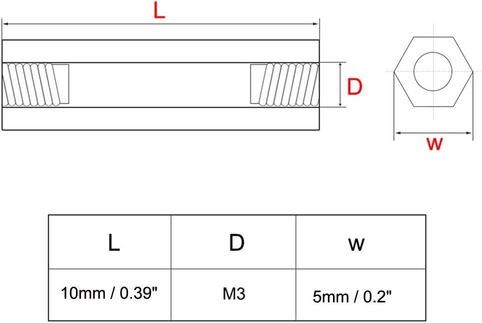 sourcing map 100 Stk Gerade PCB S/äule Innengewinde Sechskant Abstandshalter Messing M3x5x14mm