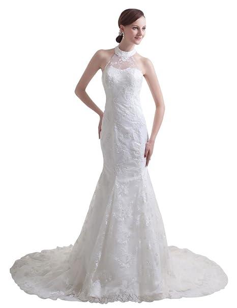 Moderno Vestido de novia Halter de encaje de la Sirenita 2014: Amazon.es: Ropa y accesorios