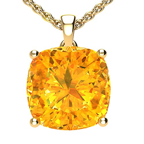 Belinda Jewelz Womens 14k Yellow Gold Cushion Shape Cut Gemstone Rhodium Plated Sparkling Prong Real Sterling Silver Fine Jewelry Classic Chain Hanging Pendant Necklace, 4.2 Ct Citrine Yellow, 18 Inch