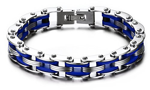 Men's Bracelet Stainless Steel Silicone Bracelet Bicycle Chain Bracelet (Blue)