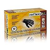 Reflexx R67, Guanti in Nitrile Neri senza Polvere Gr. 5.5, 100 Pezzi, Nero
