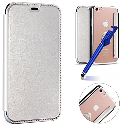 MoreChioce iPhone 6S Case,iPhone 6 Leather Wallet Case, Luxury Silver Rhinestone Soft PU Leather Proctive Flip Case Clear Back Cover with Ring Holder Kickstand Pour Apple iPhone 6 / 6s 4.7 ''