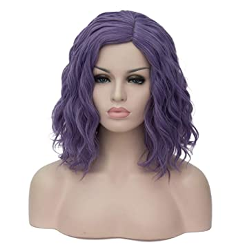 Amazon.com  Mildiso Purple Wig Short Wavy Curly Hair Wigs For Women Pastel  Colored Cosplay Party Wig with Cap M056PR  Beauty 5b9704a95