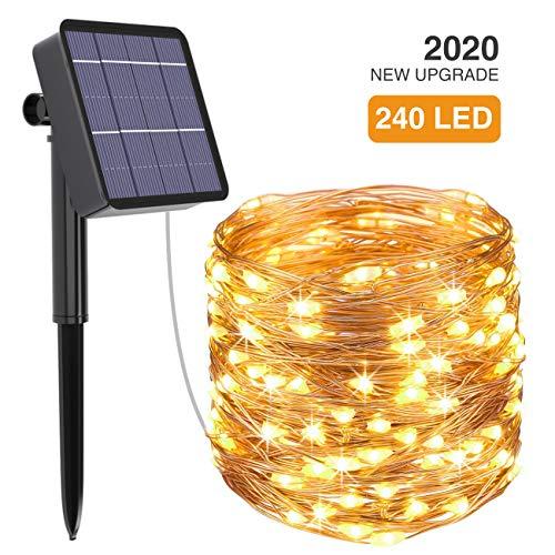 Solar String Lights Outdoor, Kolpop 78.7FT 240LED Solar Fairy Lights Outdoor Waterproof 8 Modes Copper Wire Solar…