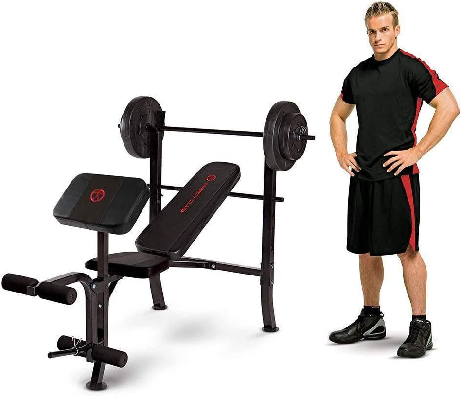 Marcy Standard Weight Bench with 80 lbs Vinyl-Coated Weight Set MKB-2081: Sports & Outdoors