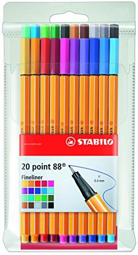 Stabilo Point 88 Fineliner Pens, 0.4 mm - 20-Color Wallet Set