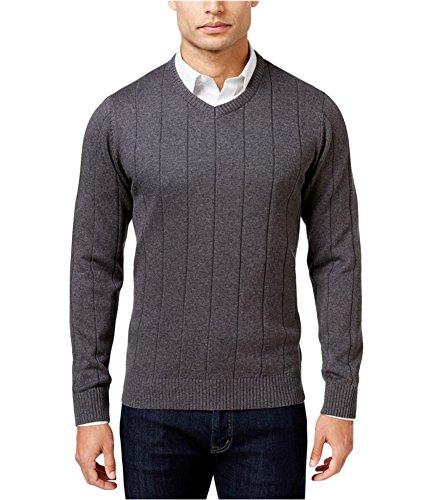 John Ashford Mens Ribbed Trim Long Sleeves Pullover Sweater Gray S ()