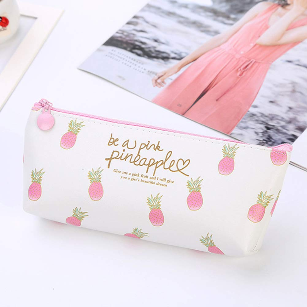 ZXGHS Student Pencil Case, Creative Cosmetic Bag, Waterproof PU Material and Pineapple Pattern, Compatible with Cosmetic Bag and Pencil Bag,C by ZXGHS