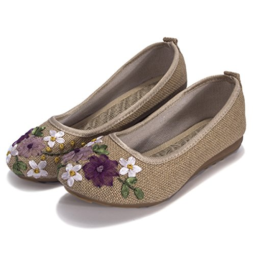 Fashion Celebrity Slip On With Floral Embroidery Sneakers Womens Shoes Khaki aP30ErHUs