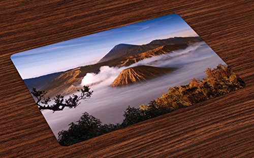 Lunarable Volcano Place Mats Set of 4, Mount Bromo Volcanoes Taken in Tengger Caldera East Java Indonesia, Washable Fabric Placemats for Dining Room Kitchen Table Decoration, Pale Caramel Blue White by Lunarable