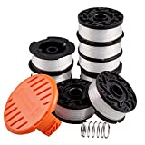 String Trimmer Line Replacement Spool, 30ft 0.065' Autofeed Spool for Black Decker Weed Eater String GH400 ST6600 CST1000 MTC220 NST2018 LST220, 10 Pack (8 Replacement Spool, 1 Trimmer Cap, 1 Spring)