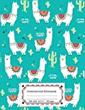 #3: Composition Notebooks Wide Ruled: Composition Notebook Llamas & Cactus In Turquoise Cover : Wide Ruled Cute Notebook For Boys, Kids, Girls, Teens, ... 110 Pages Lined Writing Notebook For School.