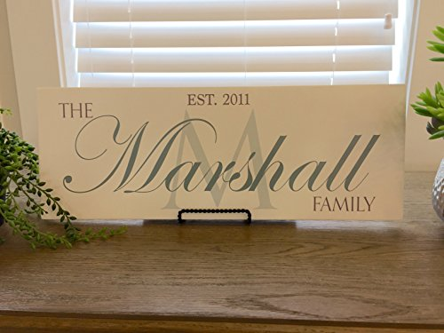Qualtry Wedding Gifts for The Couple - Personalized Engraved Wedding Gifts Wooden Family Name Signs 17.75 x 6.5, Home Wall and Table Decor (White Wood, Marshall Design) for $<!--$56.09-->