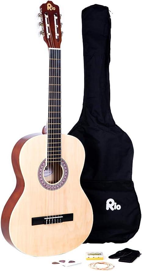 Paquete de cuerdas de nailon para guitarra clásica de tamaño completo 4/4, incluye funda, correa, púa, afinador y DVD para aprender a tocar la guitarra: Amazon.es: Instrumentos musicales