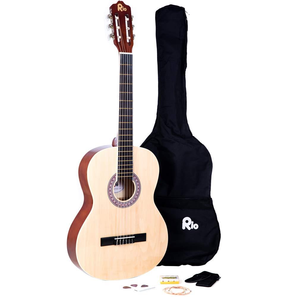 RayGar Akustikgitarrenset (4/4-Grö ß e, mit Nylonsaiten, inkl. Tasche, Gurt, Plektrum, Stimmpfeifen - natural