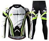 sponeed Cycle Pants for Men Mountain Bike Jersey Long Sleeved Biking Tights Shirts Bicycle Jackets Outfit US M Green