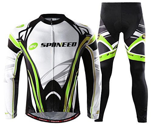 (sponeed Bike Jersey Suit Pants Padded Cycle Wear Long Sleeve Road Riding Moutain Biking Gear Apparel MTB US XL Green)