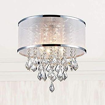 Moderno tambor de cristal Iluminación de la lámpara Montaje empotrado Lámpara de techo de techo Lámpara colgante Comedor Baño Habitación Salón LED 4 ...