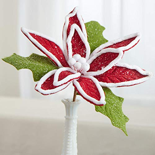 (Factory Direct Craft Red and White Glittered Felt Poinsettia Pick)