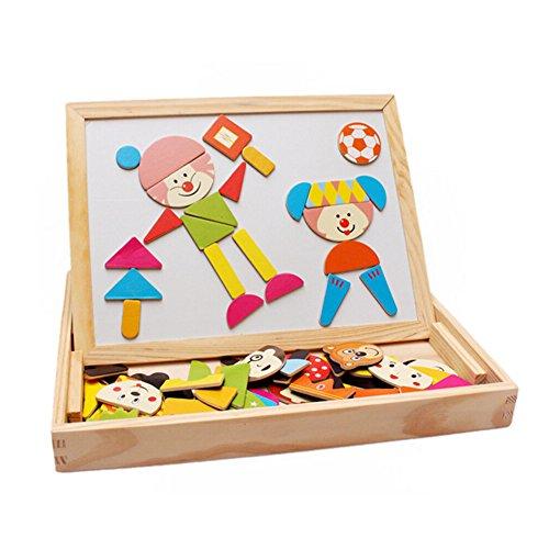 Tribe Puzzles en Bois Magnétique Jouets Educatif Jeu de Construction avec Tableau Noir Double ...