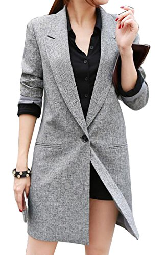 - LD Womens Lapel Long Sleeve Casual Long Blazer Suit Jacket Outwear Coat Grey M