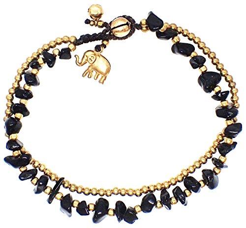 Bijoux De Ja Handmade Black Obsidian Stone Elephant Charm Brass Beads Anklets Bracelet 10 Inches
