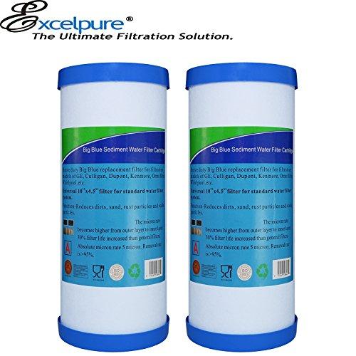 EXCELPURE Activated Carbon RFC-BB Compatible W/CulliganRFC-BB HD-950 Pentek10'' Big Blue WhirlpoolWHCF-WHPLBB, American Plumber WRC25-HD W10-PR 10'' x 4.5'' Sediment Filter - 2PACK by EXCELPURE