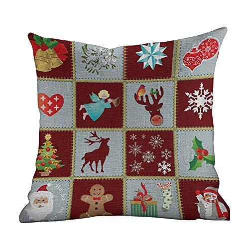 Kenneth Camilla Zip Pillow Case Angel,Christmas Tree Reindeers Noel Santa Presents Snowman Pine Tree Traditional,Burgundy Blue Grey,Home Decor Sofa Cushion Case 20